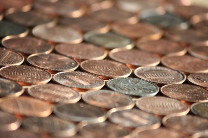peníze, peníze, kovové mince, penny