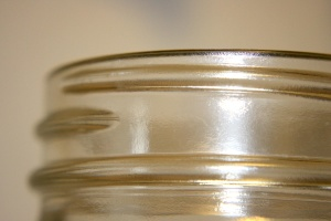 threaded glass, top section, glass jar