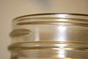 vetro filettato, sezione superiore, vaso di vetro