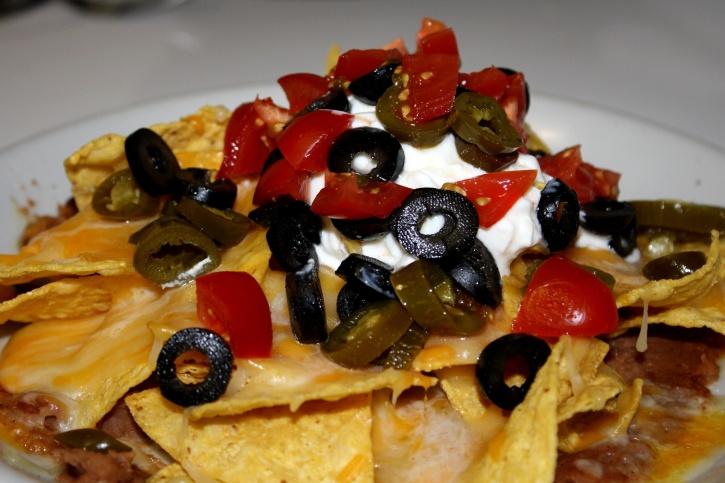 plaque, nachos, nourriture, déjeuner