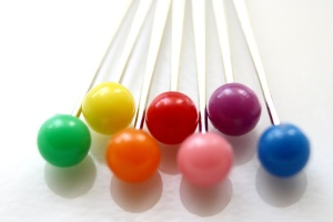 rainbow colored, sewing pins, straight, pins