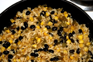 schwarze Bohnen, Reis, Kochmöglichkeit, Mittagessen