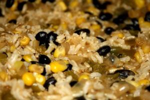 black beans, rice, seed