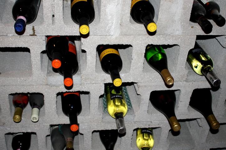 cendre, bloc, vin, cave, vin sous-sol