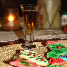 dessert, glass, fruite juice, decoration, cookies