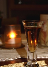 candle, wine, glass