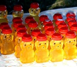 honey, plastic jars, sugar