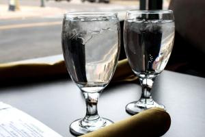 water, glasses, restaurant, table