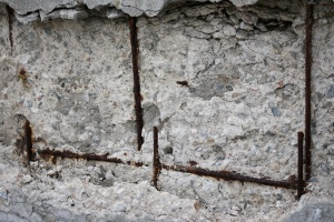 crumbling concrete, rusted, rebar, texture