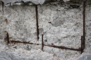 crumbling concrete, rusted, rebar, texture