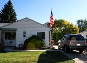 house, exterior, flag, suv car vehicle