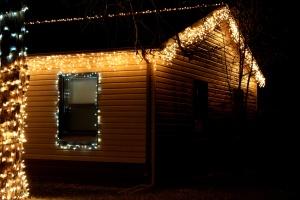 casa, ghiacciolo, luce di Natale, notte