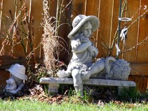 statuen, kunst, pige bedrift roser