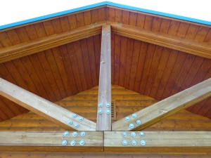wooden roof, support beams, construction