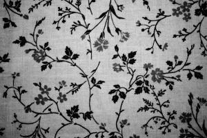 svart, vit, blommig, print, textil, tyg, textur