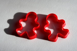 red plastic, cookie cutters