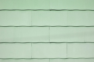 light green paint, scallop, asbestos, shingle, roof, texture