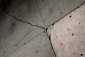 cement, sidewalk, cracks, paint, splatters