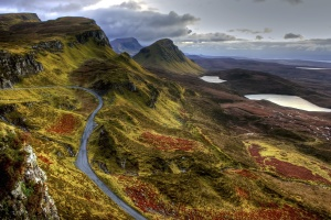 road, scotland, water, mountain
