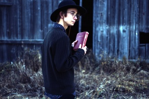 holy bible, book, man, person, barn