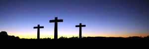christianity, cross, sunset, panoramic, silhouette