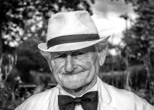 old man, fedora hat, old, portrait, smiling