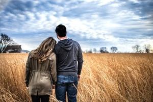couple, field, people, rural, sky, summer, romance, love