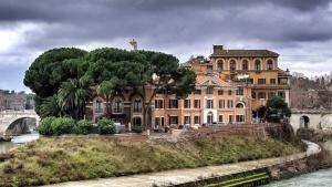 edificio, árbol, agua, mansión