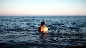 man, standing, swimming, water, ocean