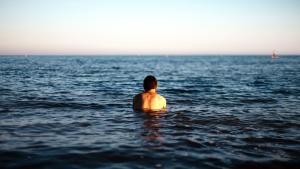 man, standing, swimming, water, ocean