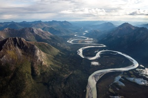 mountains, river, rocks, clouds, dawn, flowing, hill