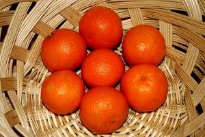 wicker, basket, fruit, fresh clementines
