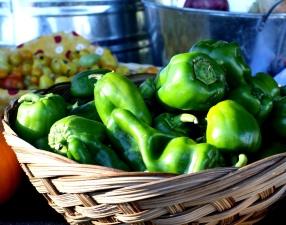 wicker basket, green peppers, vegetable