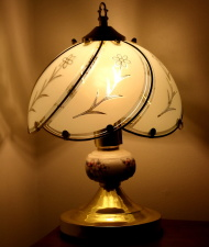bedside lamp, glass, shadow, furniture, interior