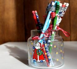 colorful pencils, jar