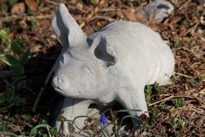 pig, garden, sculpure, figurine, handmade, cement