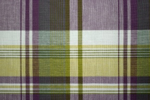 格子縞布のテクスチャ、ライン設計、紫、黄色、テキスタイル