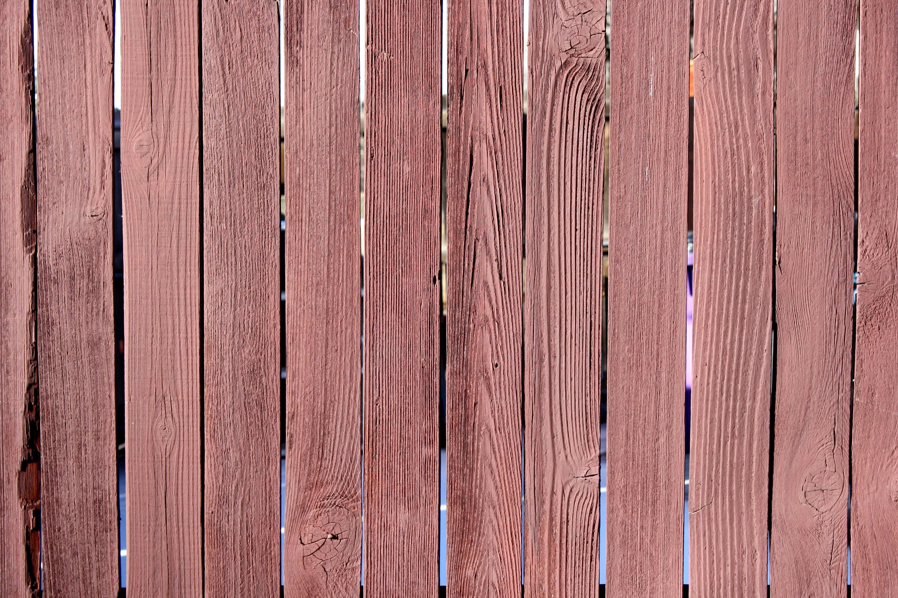 Red Stained Fence Texture Wooden Planks
