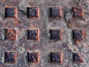 rozsda, a fém, akna fedelét, textúra