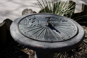 sundial, time, horologe, cast iron