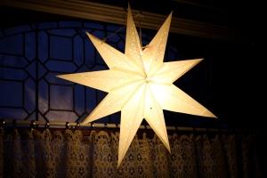 white, star, lamp