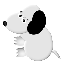 white dog, computer art, graphic illustration