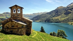 church, architecture, building, grass, hill, lake