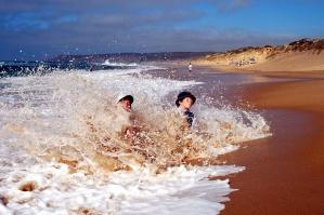 beach, children, fun, vacation, water, waves, ocean