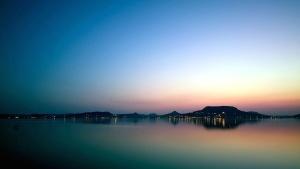 Dawn, siluet, gökyüzü, gündoğumu, günbatımı, su yansıma, deniz