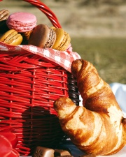 baked bread, sweet dessert, wicker basket, wood
