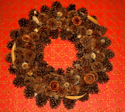pine wreath, handmade, Christmas decoration