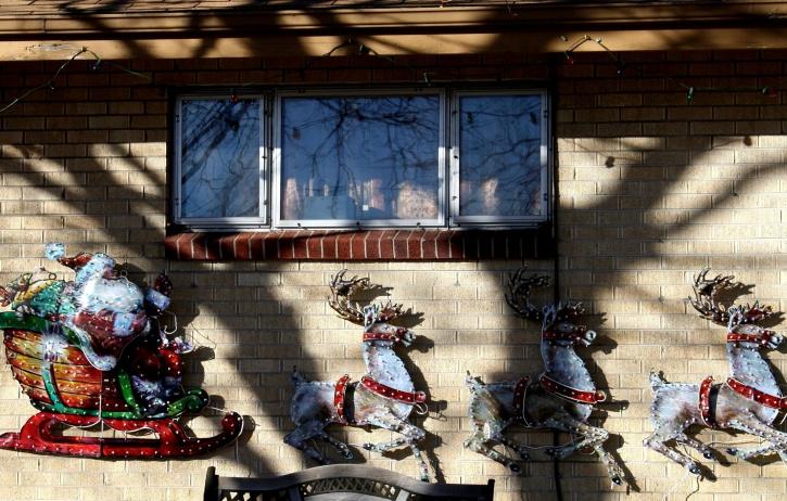 Santa Claus, trineo, navidad, decoración