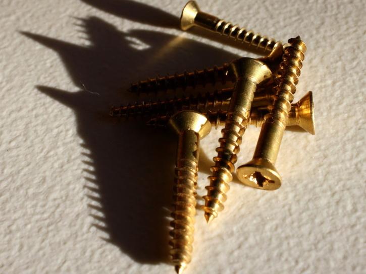 brass, metal, wood screws