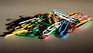 colorful, metal paperclips